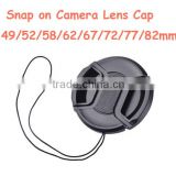 Plastic Snap-On Camera Lens Cap 58mm Cover with string
