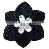 hot sell suede flower hair clip with black acrylic and high suede flower hair accessory with alloy flower accessory