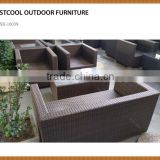 5 Pieces Outdoor Furniture Set Patio Garden Lawn Cushioned Seat Black Wicker Rattan Sofa Set