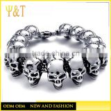 On Stock mens black skull beads bracelets, punk leather rhinestone mens skull bracelets