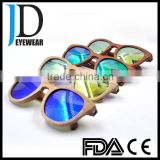 hot selling different color lens natural wood bamboo sunglasses free logo