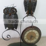 factory wholesale handmade antique craft wrought iron small table clock golf table accent clock