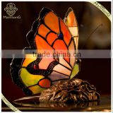 2016 European Style Retro Colored Glass Butterfly Creative Tiffany Table Lamp, Living Room Light