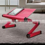 Portable Bed Tray Book Stand Adjustable Vented Laptop Table Laptop Computer Desk Multifuctional & Ergonomic - red
