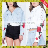 Custom ladies embroidered slim fit denim short coats women cropped distressed jean jacket wholesale