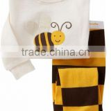fashion new boys and girls short sleeve 2pcs cotton bee printed pajamas suits kids sleepwear
