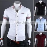 100% cotton casual fashion men's short sleeve shirt