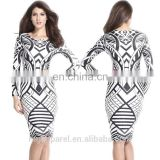 wholesale fashion black white long sleeves sexy tight dress fitting bodycon midi dress for mature women