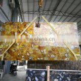 Amber Color Agate Stone Table Top Polished Agate Countertop