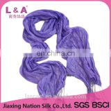 100% crinkle silk scarf purple color