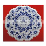 Lapiz Lazuli White Marble Inlay Decorative Table Top