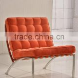 Barcelona chair replica orange leather