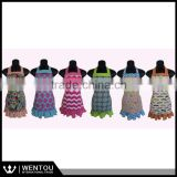 Colorful Circles And Blue Ruffled Chevron Apron