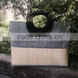 High quality best selling bamboo shopping bag covered by grey cotton with handle from vietnam