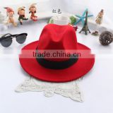 2015 Hot 5colors Adjusted ladies wool felt hat wide brim fedora hat European Style wool felt Fedora