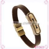 Wholesale Cross Stainless Steel Men's Fashion Leather Bracelet 2016