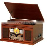 Wooden desktop turntable vinyl record player gramophone with CD/cassette, radio/bluetooth/usb player/usb pc encoding/headphone