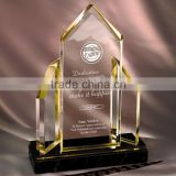 clear acrylic trophy with gold edge, clear acrylic trophy with black stone base.