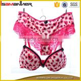 High quality bras and panties hot pink sexy lace leopard hot sex bra panty set                                                                                                         Supplier's Choice