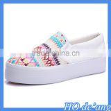 Hogift 2016 hot selling women canvas shoes white casual girls shoes wholesale MHo-182