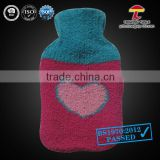 2000ml knitted hot water bottle cover heart beats