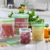 promotion plastic PP 4pcs 850ml 1400ml 2100ml 3150ml round vacuum sealing food container storage with lid set
