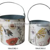 164JC362-1-2European style custom design flower metal pot big and small size sets for home decor and decoration