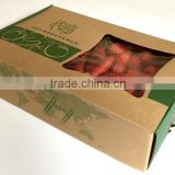 Recycle feature corrugated kraft packaging paper box for fruit packaging with clear window