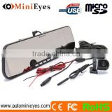 Cheap DVR 2.7 inch car rearview mirror type and bluetooth handsfree car kit mirror wd0608