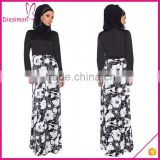 Black and white stylized floral print button cuffed long sleeves elegant muslim women long dress