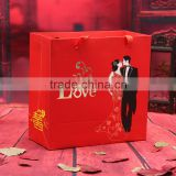 Red color wedding gift paper carrier bag with handles/ OEM Designed Gold Promotional Carrier Bags