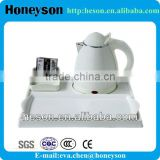 INQUIRY ABOUT hotel room equipment electric mini water kettle with melamine tray set for guest room