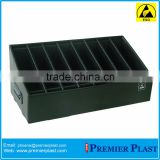With corrugated dividers black esd/ conductive anti-static component box