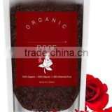 Mendior Organic Ground coffee and rose petal essential oil Exfoliate body scrub whitening bath salt,OEM custom brand,200g