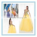 Stunning girls party dress Tulle Applique long yellow prom dress evening dress evening gown (YASA-819)