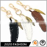 New Women Bag Charms Key chains Bling Rhinestone Feather Pendants keychain