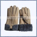 Beige color sheepskin shell fur lining woman leather gloves