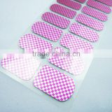 Custom korea metallic purple chessboard nail wraps waterproof ink nail polish patch nail art decals for teens