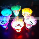 6 Piece Badminton shuttlecock goose feather led shuttlecock dark night glow birdies lighting for outdoor and indoor activities