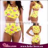 YH7042 Best selling good quality sexy bikini sets women beach wear 2 pieces yellow floral sexy women swimwear