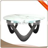 Modern Euro style Coffee Table with 8mm Clear Tempered Glass Top and High Gloss Fiberglass Base in Black