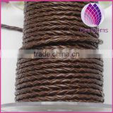 wholesale 3.0mm braided real leather cord for bracelet