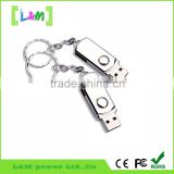 Memorising metal USB flash drive with keychain swivel USB pen drives bulk