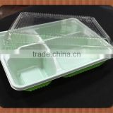 universal green and white PP plastic blister food tray with clear cover,disposable food container