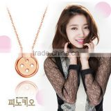 Lucky buttons real 18k gold plated jewelry korean Park Shin Hye doctors necklace 925 Sterling silver