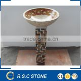 Hot sell mosaic pedestal sink marble stone,natural stone