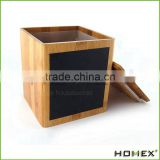 Popular Square Bamboo Storage Box With Blackboard Homex_BSCI/ SGS