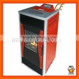 Wood pellet fireplace with water boiler
