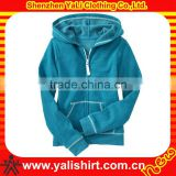 Fashion casual blank heavy cotton slim zip up hoodies hot cotton brand clothing for women