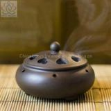 Chinese Ceramic Incense Burner Handmade Antique Burner Sandalwood Furnace With a Brass Incense Holder Home Decor